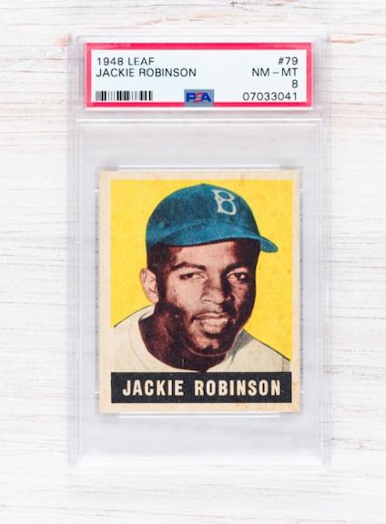 1948 Leaf Jackie Robinson Rookie Card (PSA 8)
