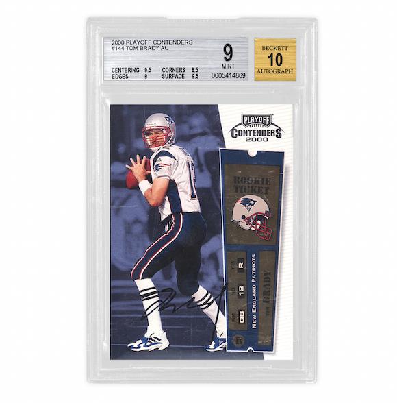 2X 2000 Playoff Contenders Tom Brady Rookie Cards (BGS 9, Auto 10)