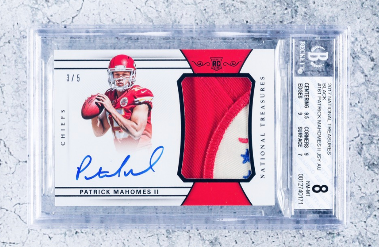2017 Panini National Treasures Patrick Mahomes RPA (BGS 8)