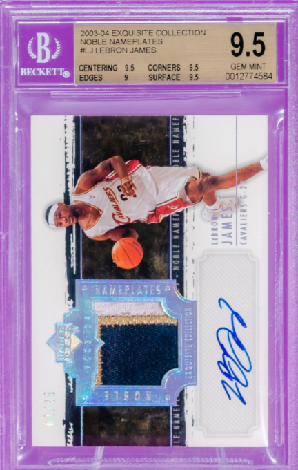 2003 Exquisite Collection Noble Nameplates LeBron James RPA (BGS 9.5)