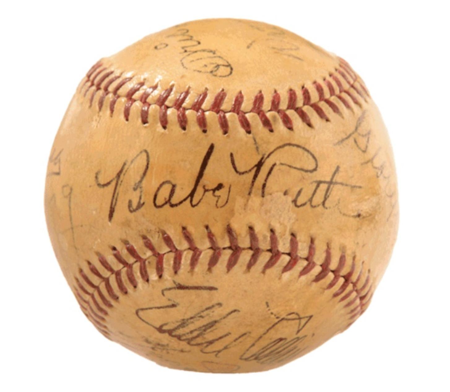 11 Original Hall of Fame Inductees Signed Baseball (1939)