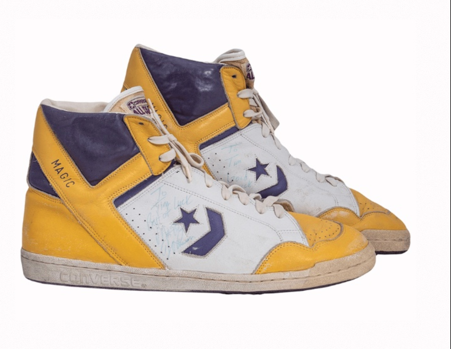 1987 Magic Johnson Game-Worn & Signed Sneakers from MVP/Finals Season