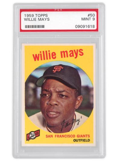 1959 Topps Willie Mays Basket 2x (PSA 9)