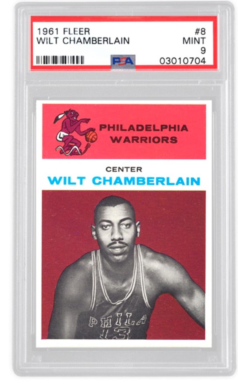 1961 Fleer Wilt Chamberlain Rookie Card (PSA 9)