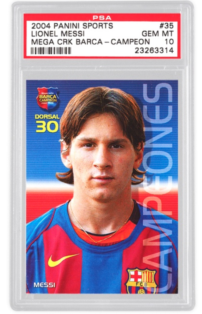 2004 Panini Sports Lionel Messi Rookie Card Basket (PSA 10/BGS9.5)