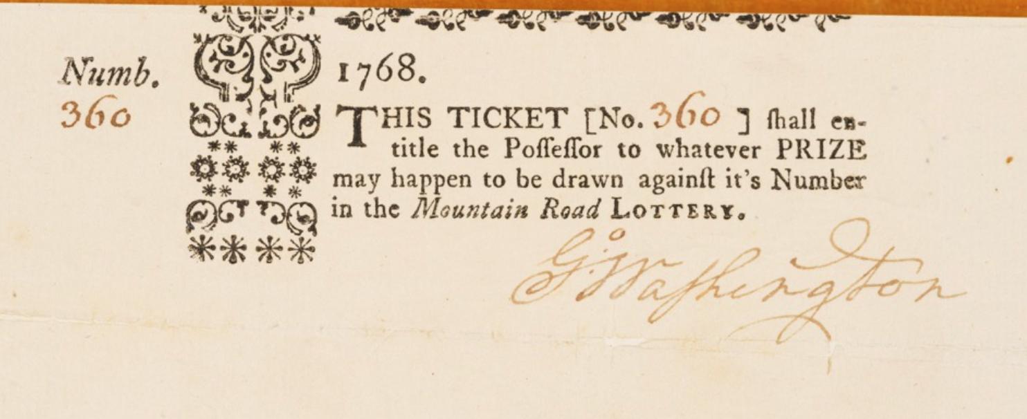 1768 George Washington Signed Lottery Ticket