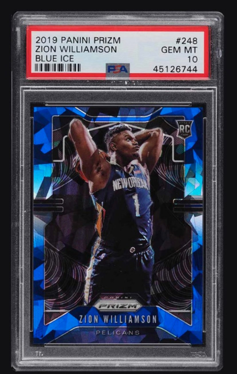 2019 Panini Prizm Zion Williamson Blue Ice Rookie Card (PSA 10)