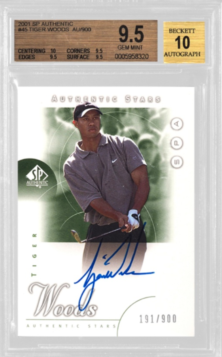 2001 SP Authentic Tiger Woods Auto Card (BGS 9.5)
