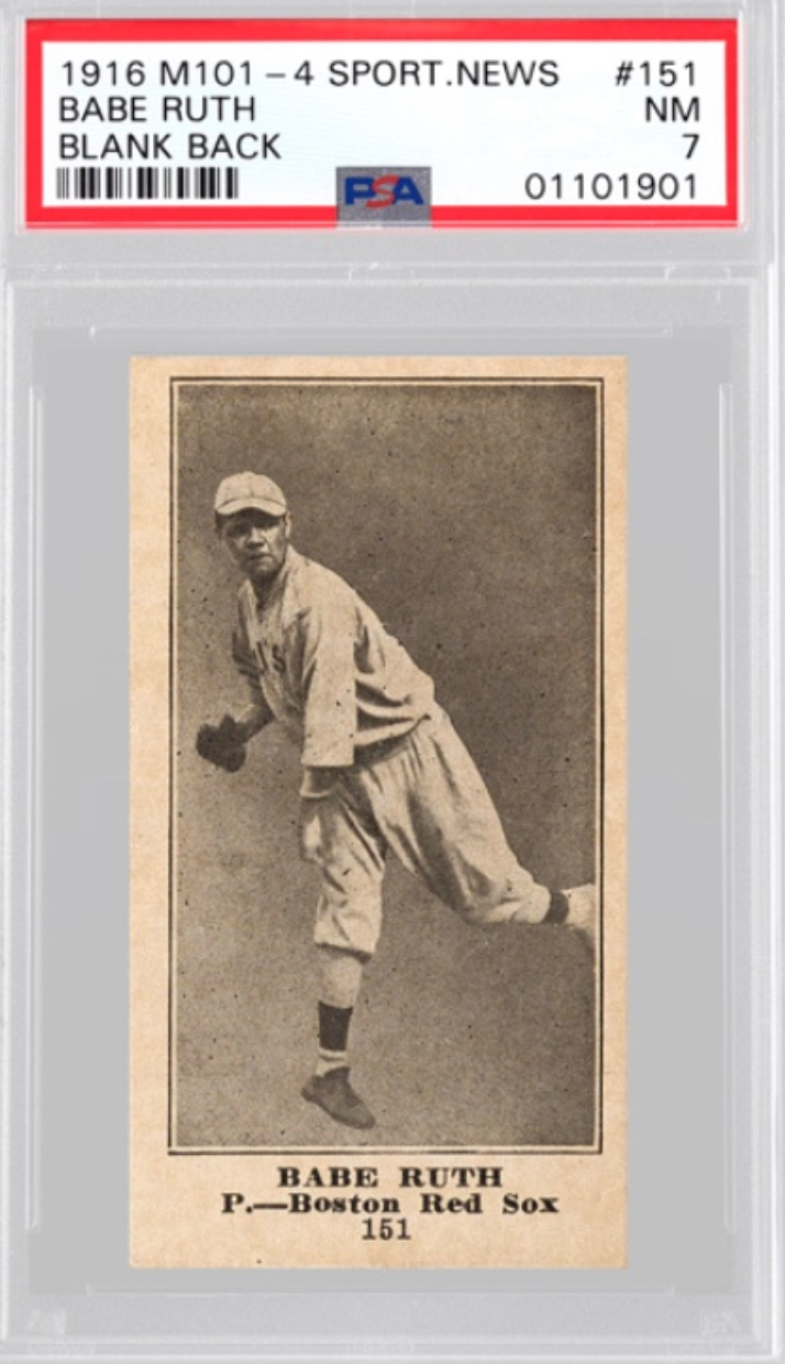 1916 Sporting News Babe Ruth Rookie Card (PSA 7)