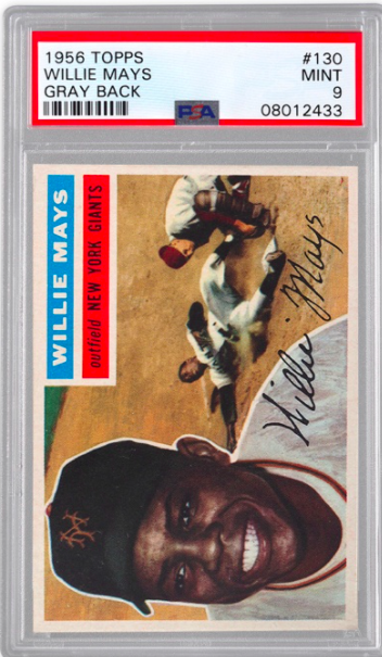 1956 Topps Willie Mays Card Gray Back (PSA 9)