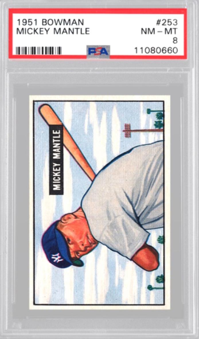 1951 Bowman Mickey Mantle Rookie Card (PSA 8)