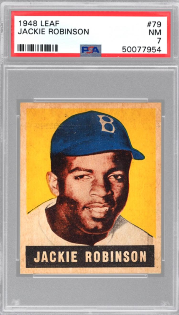 1948 Leaf Jackie Robinson Rookie Card (PSA 7)