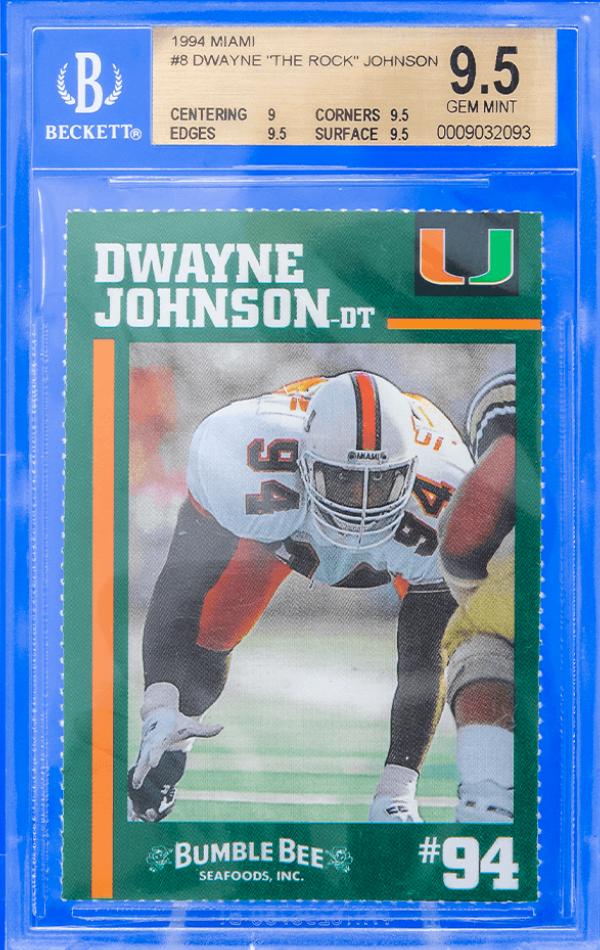 "1994 Bumble Bee Dwayne ""The Rock"" Johnson Card (BGS 9.5)"