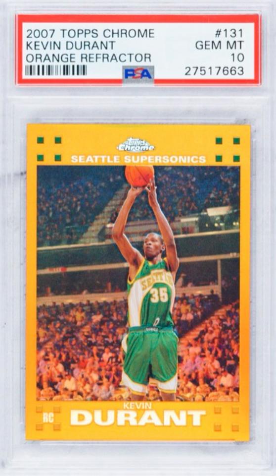 2007 Topps Kevin Durant Orange Refractor Rookie Card (PSA 10)
