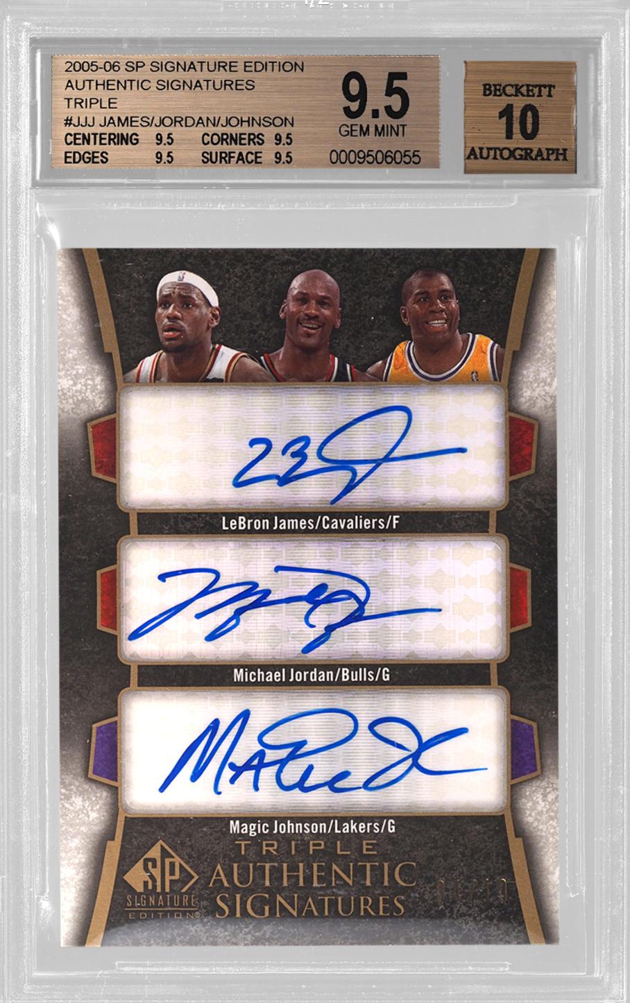 2005-06 Triple Authentic Signatures Jordan/Magic/LeBron (BGS 9.5)
