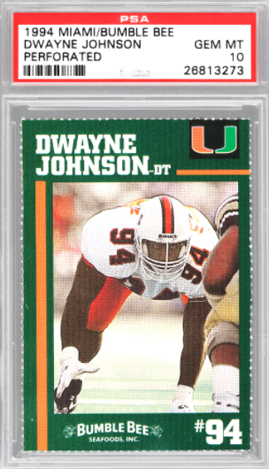 "1994 Bumble Bee Dwayne ""The Rock"" Johnson Card (PSA 10)"