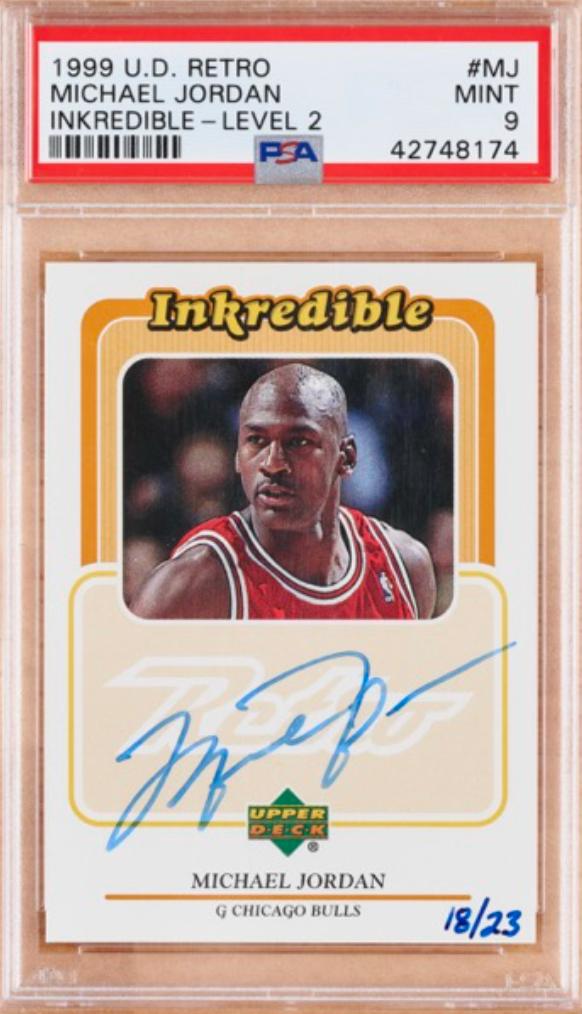 1999 Upper Deck Retro Inkredible Michael Jordan Signed Card (PSA 9)