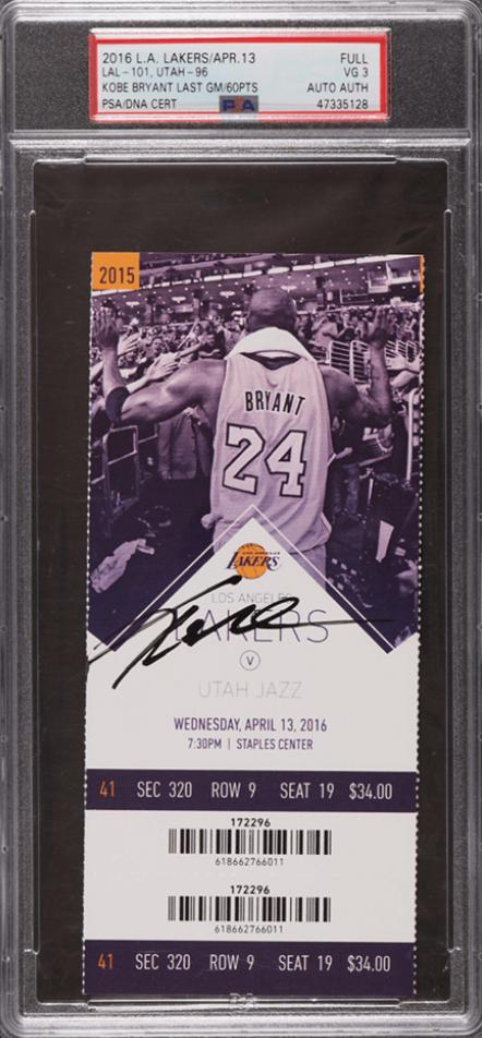 2016 Kobe Bryant Last Game Ticket (PSA 3)