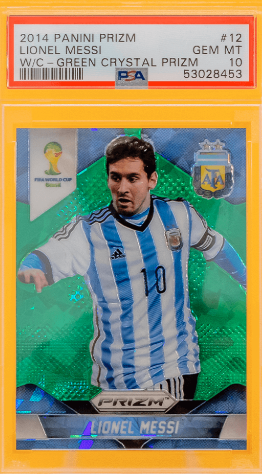 2014 Panini Prizm Lionel Messi World Cup Green Crystal (PSA 10)