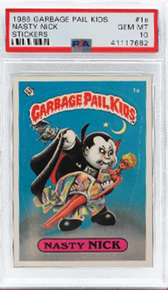 1985 Garbage Pail Kids Stickers Nasty Nick Card (PSA 10)