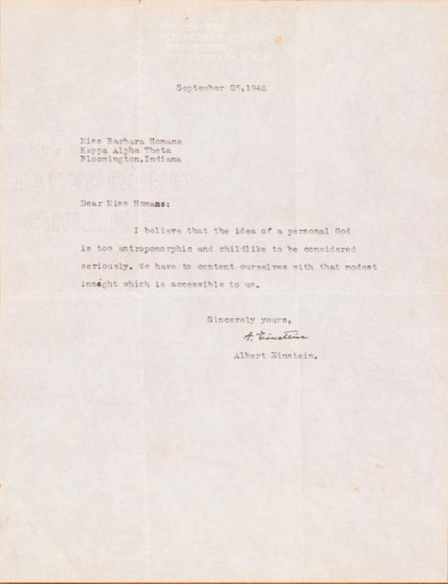 Albert Einstein: 1948 Signed Letter on God