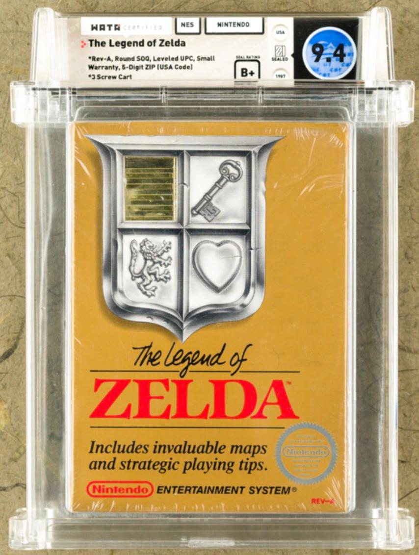 1987 NES Legend of Zelda (WATA 9.4 Seal B+)
