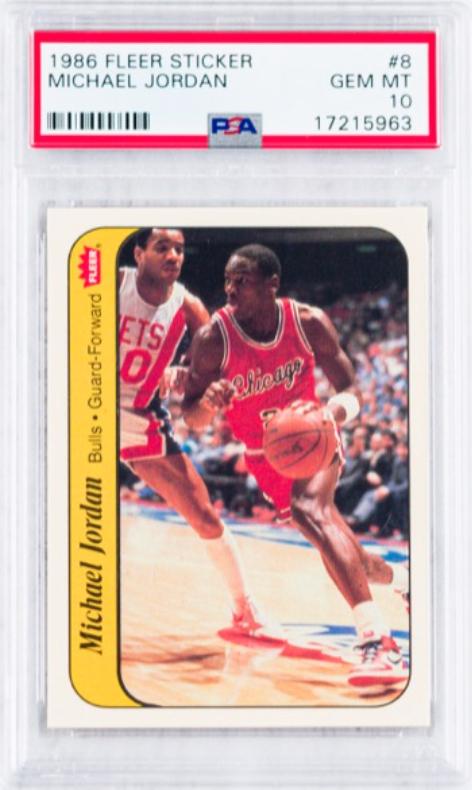 1986 Fleer Michael Jordan Sticker Rookie Card (PSA 10)