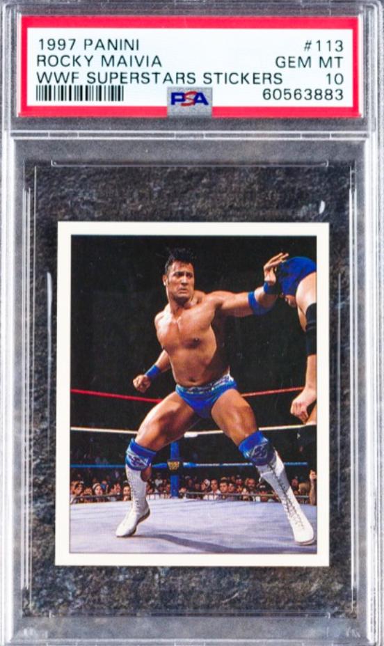 "1997 Panini ""The Rock"" Rookie Card (PSA 10)"