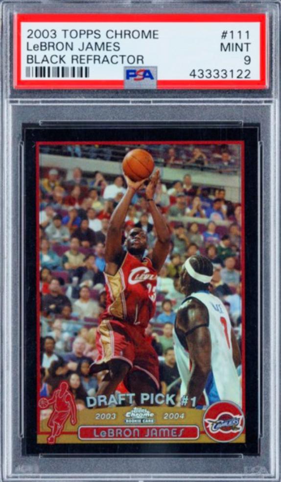 2003 Topps Chrome Black Refractor LeBron James Rookie Card (PSA 9)