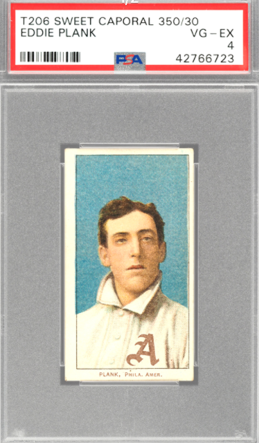 1909-1911 T206 Sweet Caporal Eddie Plank Card (PSA 4)