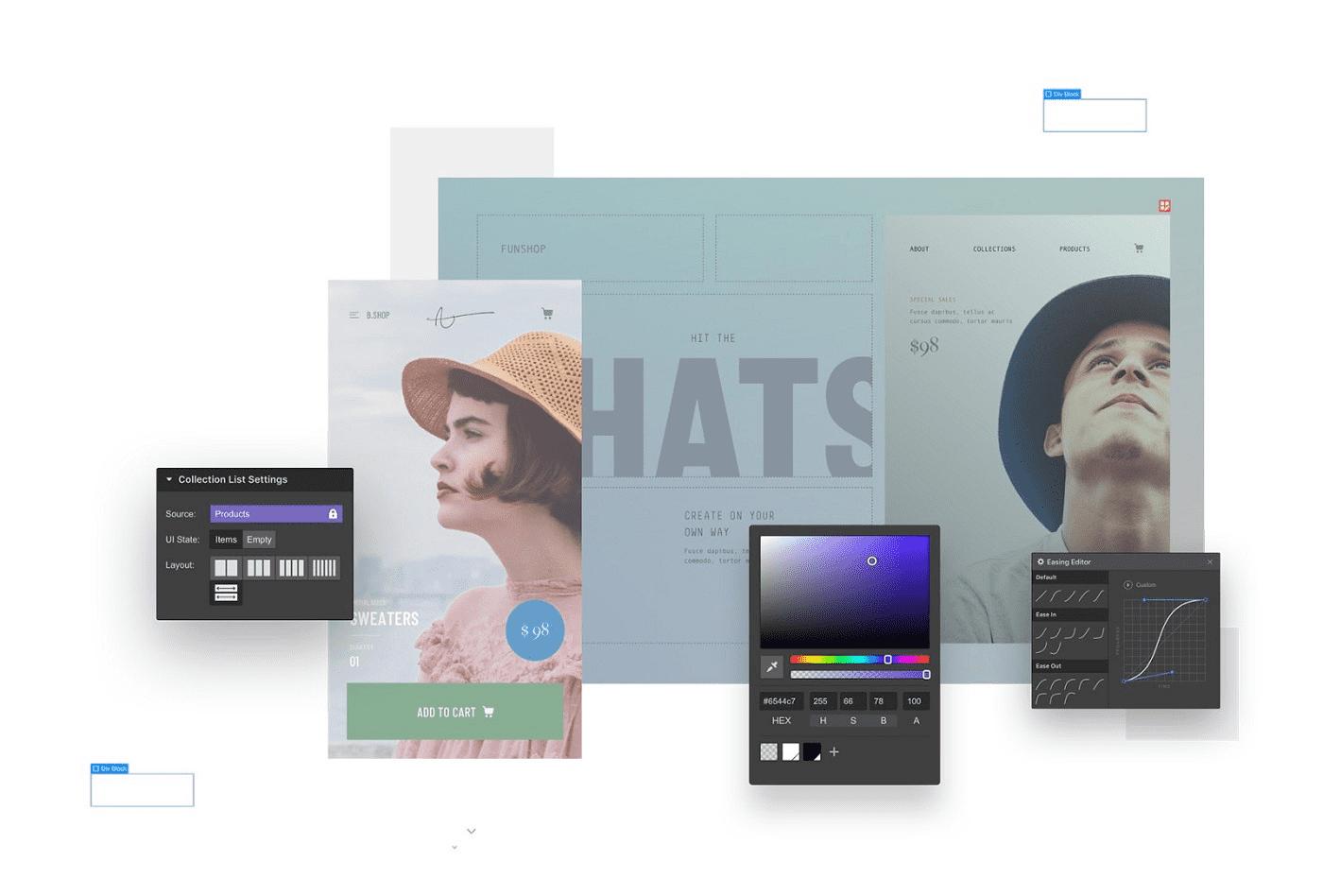 Webflow mit Designer und mehreren Screenshots