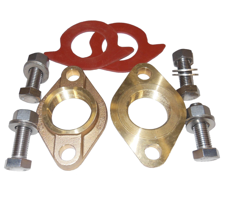 Oval Flange Kit - Brass, Threaded