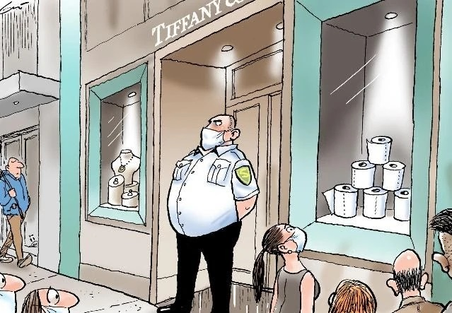 A cartoon of a guard standing in front of a window display of toilet paper in a Tiffany jewelry store while a crowd of people, some wearing masks, admire the display. Image credit Mark Knight