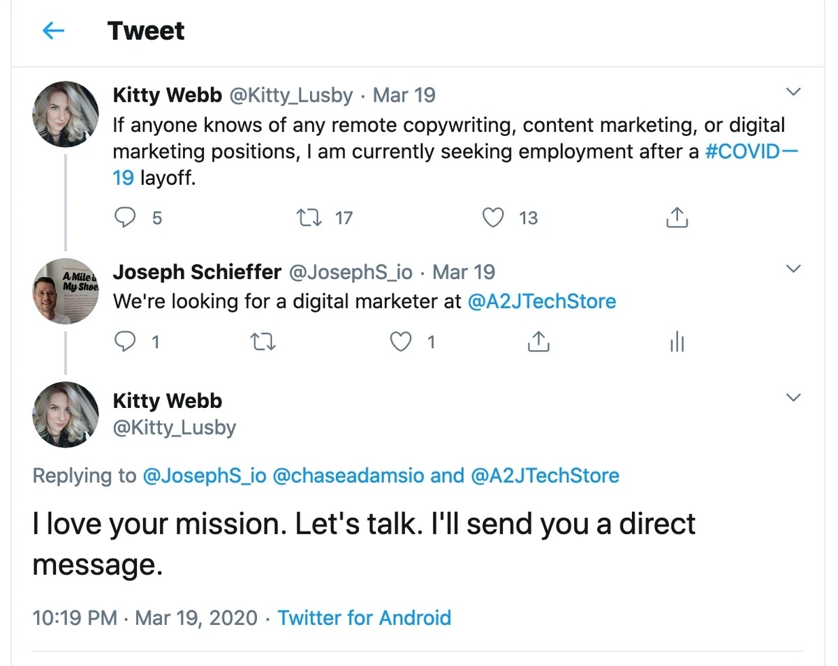 Tweet response to previously cited layoff tweet, where Joseph Schieffer says that A2J tech store is looking for a marketer and Kitty responds that she loves the mission