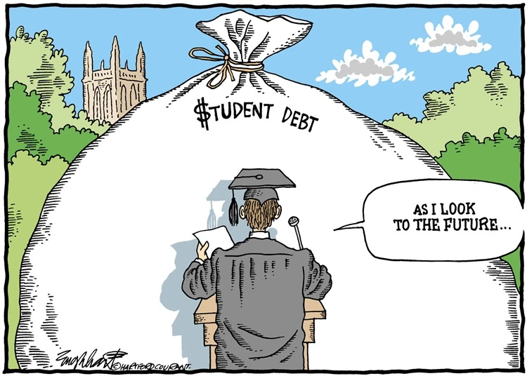 """A cartoon of a college graduate in cap and gown giving a speech beginning with """"as I look to the future..."""" while the audience is a giant bag of student debt."""