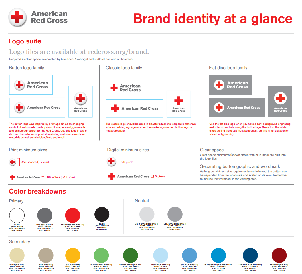 The american red cross brand guide, showing their colors, logo, and styling guidelines