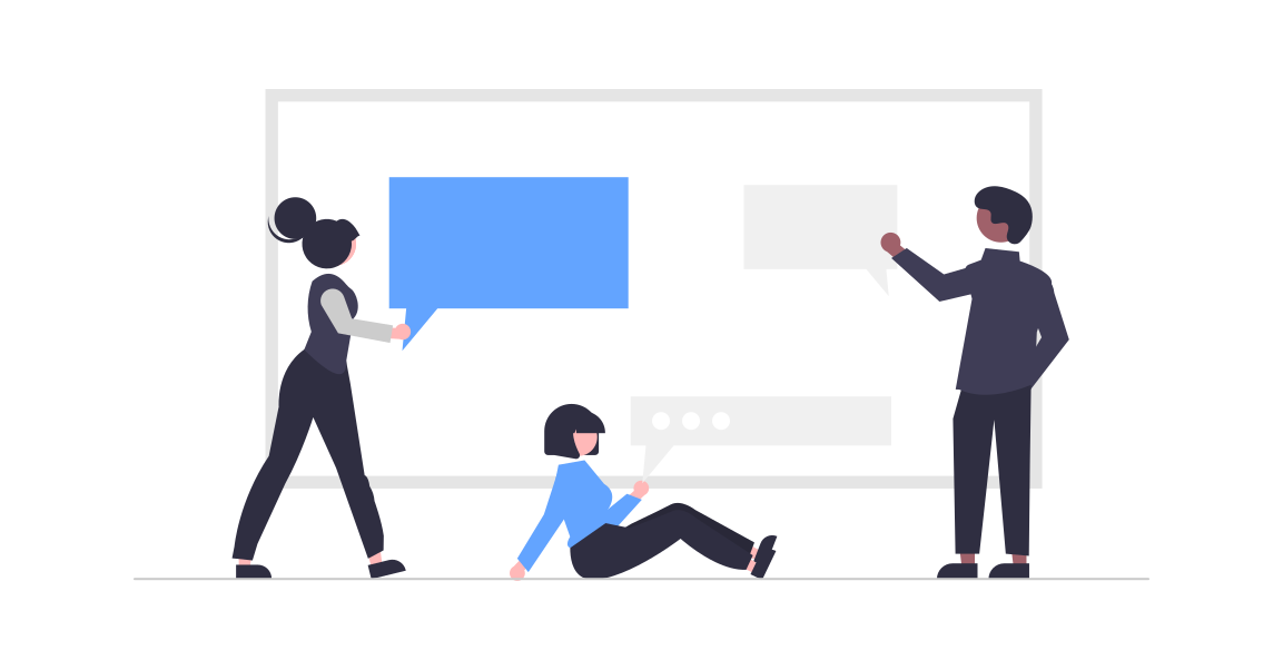 Icon of three people coming up with ideas together