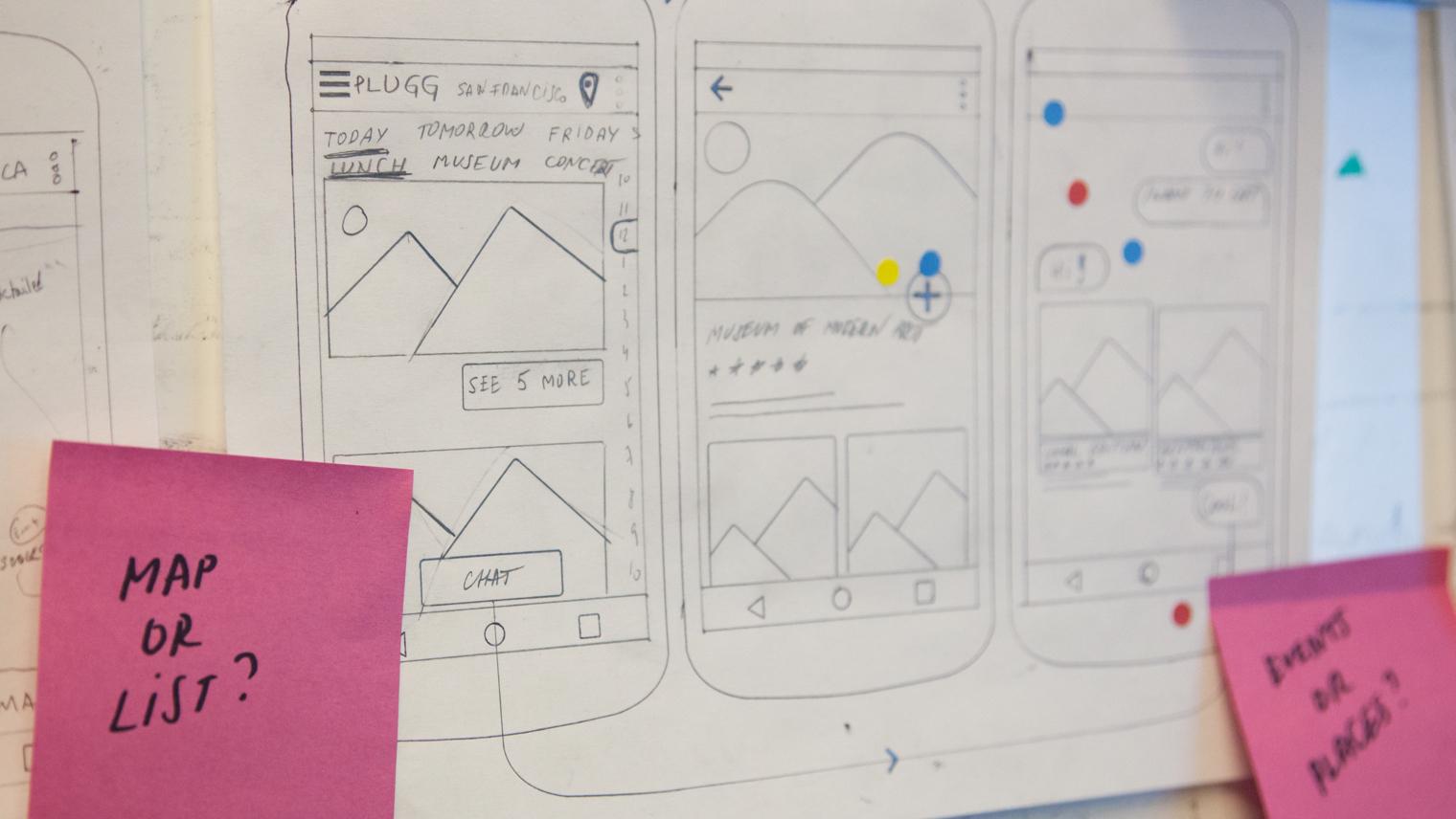 sketch of mobile app prototype
