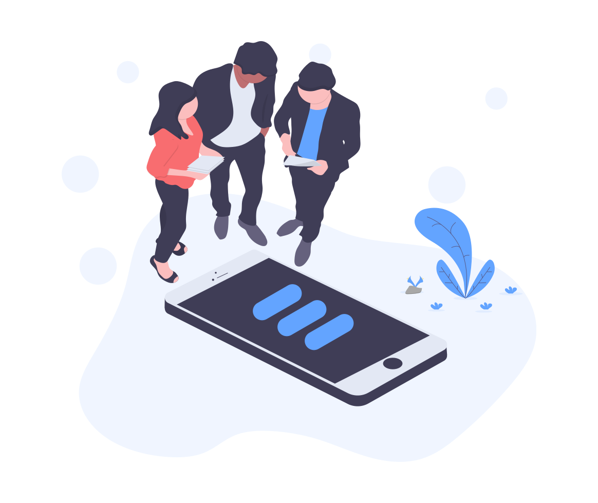 icon of three people looking at a mobile screen together