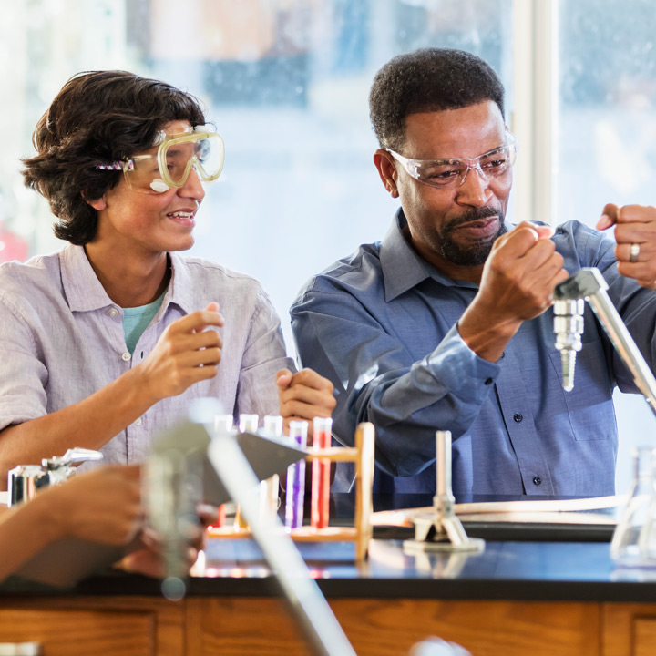Science educator and students
