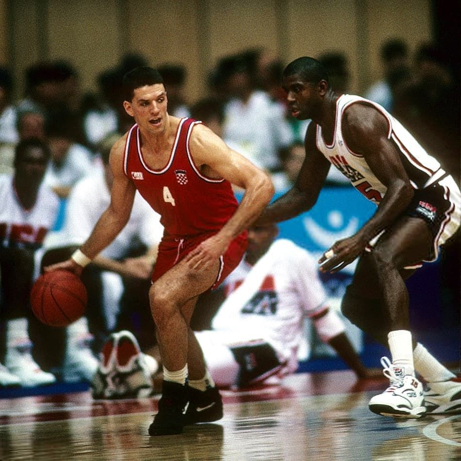 USA vs Croatia, Olympic Games 1992 at Barcelona. Drazen Petrovic vs Magic.  | Magic johnson, Usa basketball, Olympic games