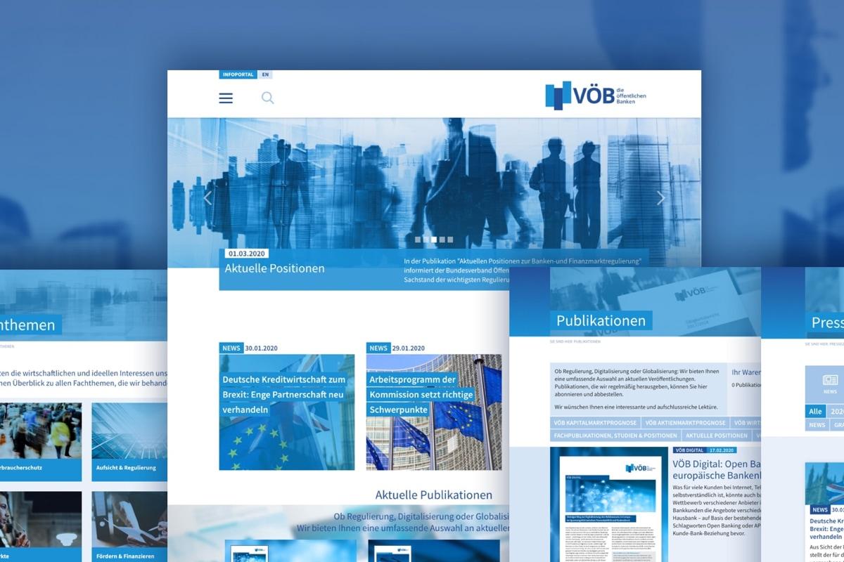 Montage der Startseiten der Website des VÖB