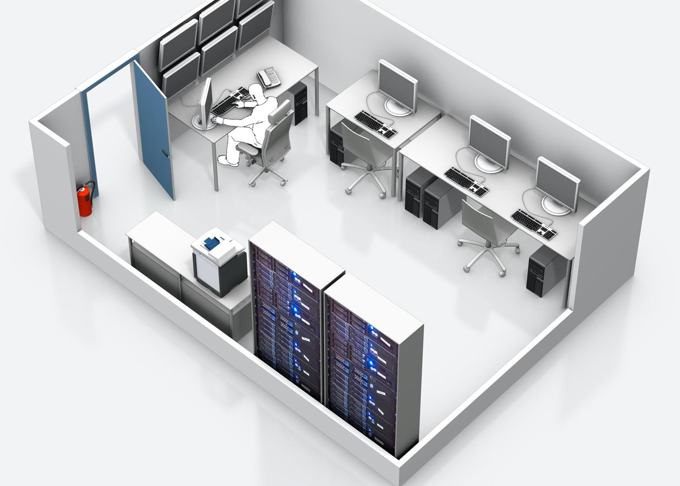 Aufschnitt einer 3D Ansicht eines IT-Innenraumes