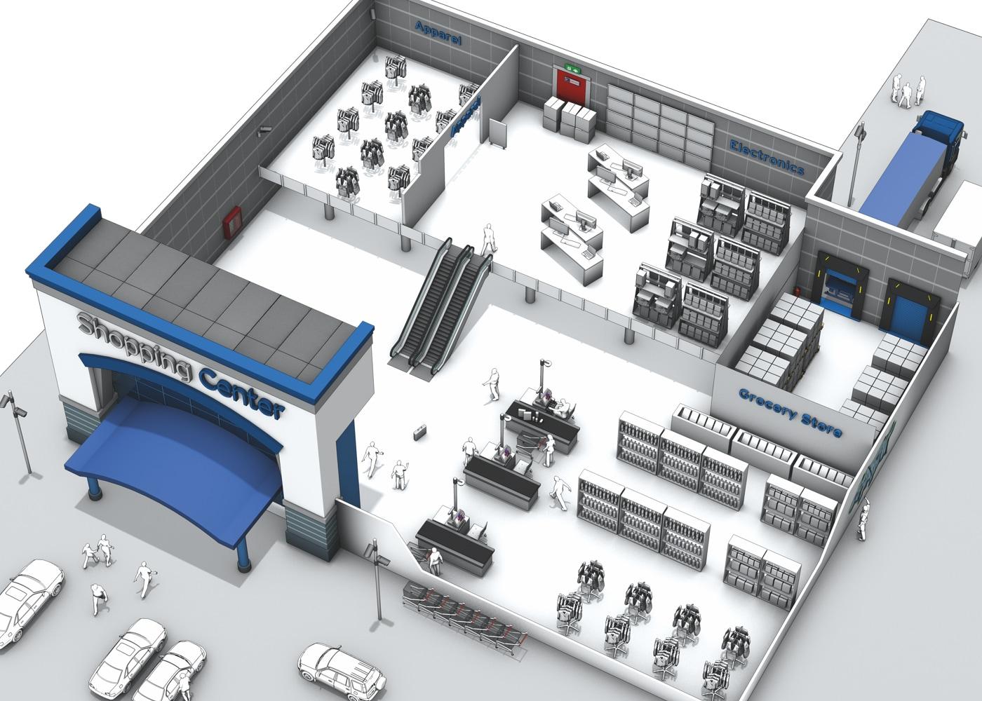 3D Ansicht eines ShoppingCenters