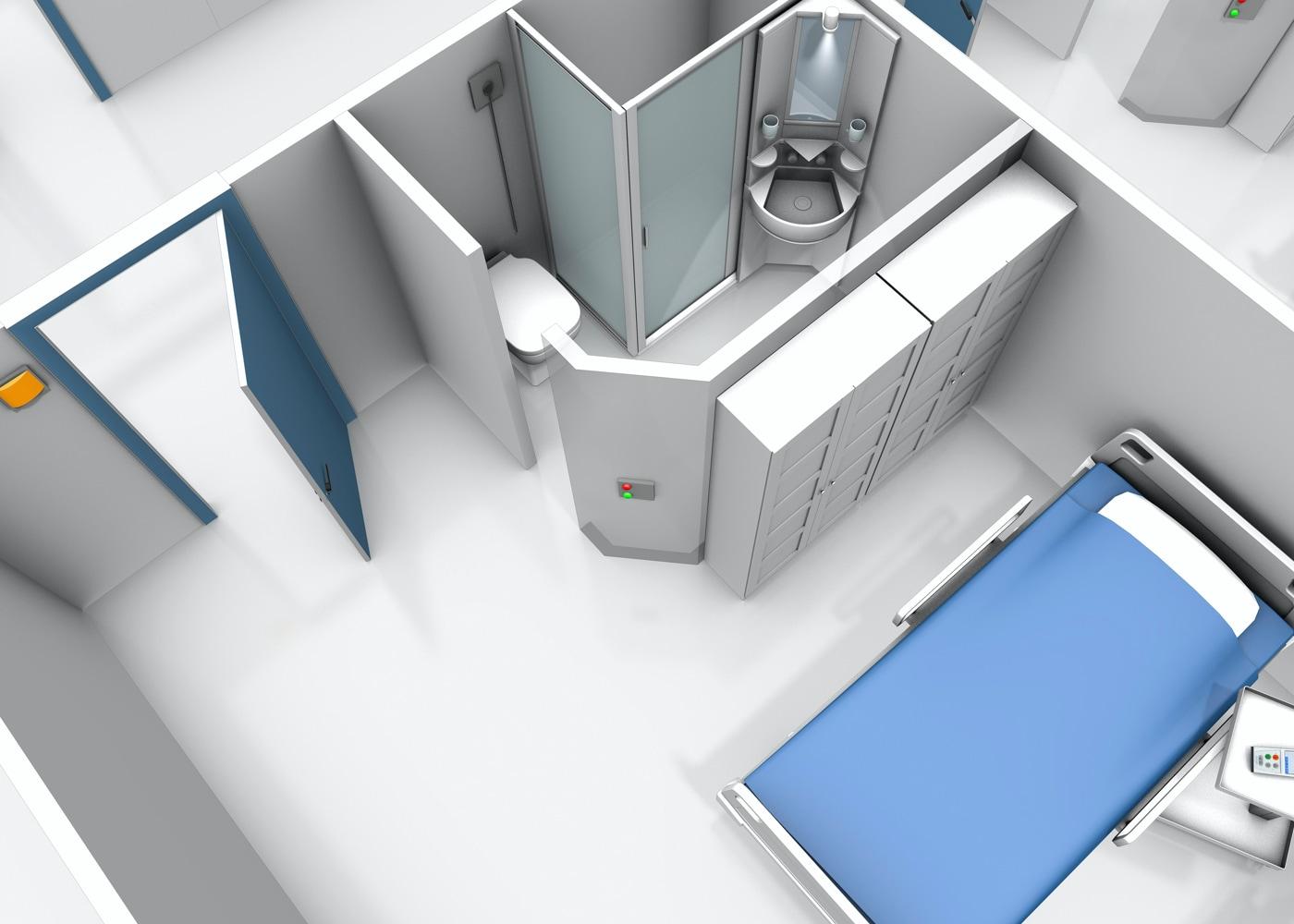 Aufschnitt einer 3D Ansicht eines Krankenhauszimmers