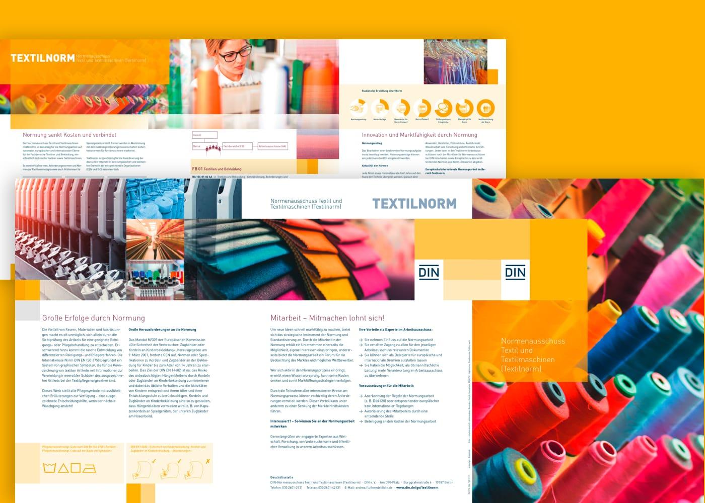 Montage von Titelseiten und Folgeseiten der Imagebroschüren von DIN e.V.