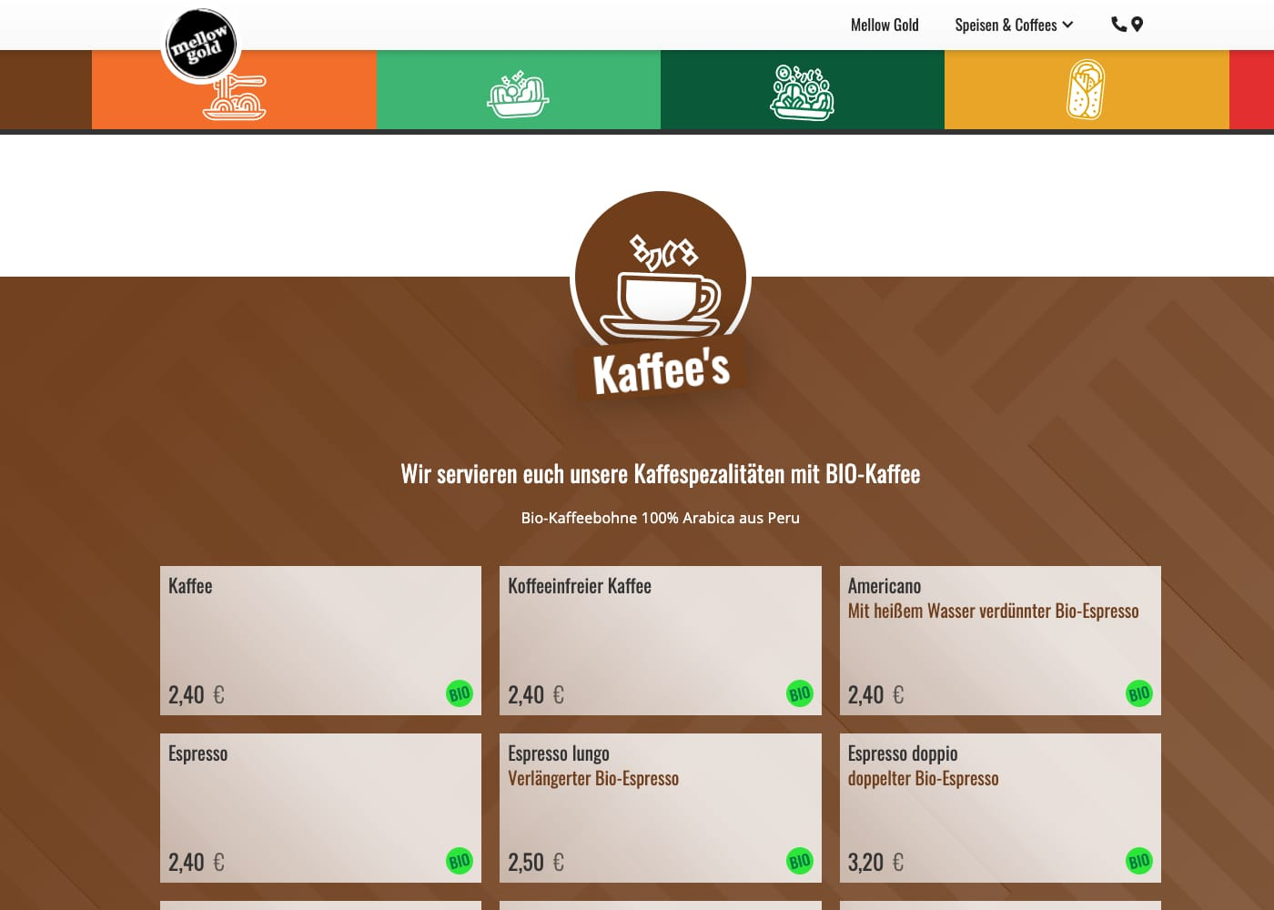 Screen der Website »mellow-gold.de« mit der Kaffeekarte
