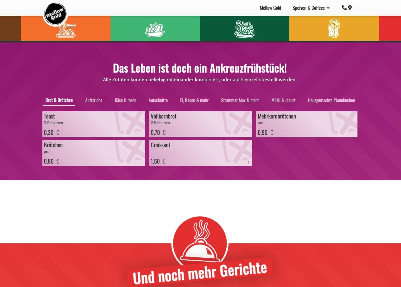 Screen der Website »mellow-gold.de« mit der Frühstückskarte