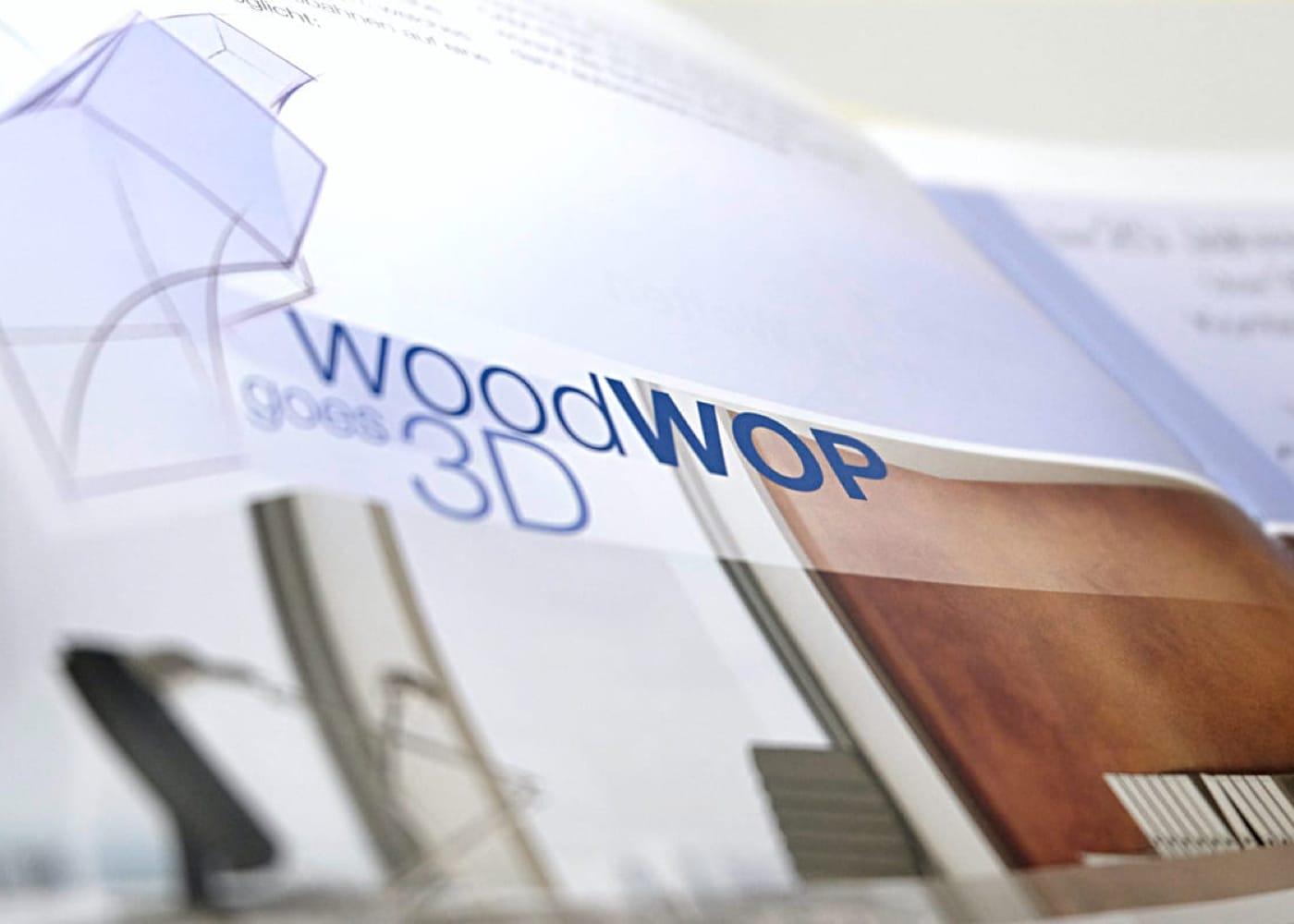 Anwendung des Logos WoodWop3D in einer Broschüre