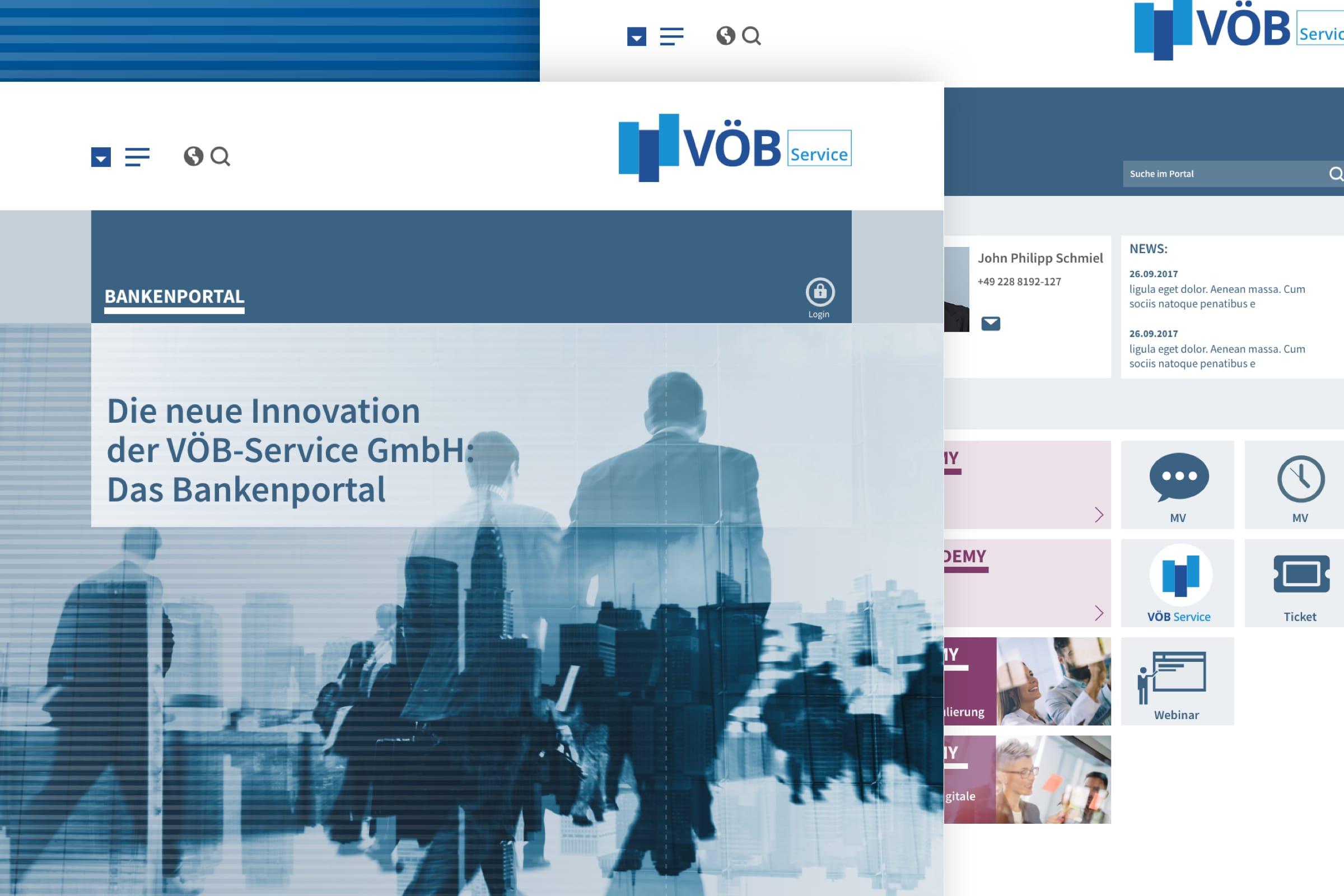 Montage der Startseite und Folgeseite des Bankenportals des VÖB-Service